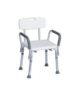 Chaise de douche à hauteur variable avec accoudoirs amovibles